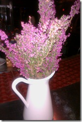 Fresh flowers at the bar of Sprig Restaurant