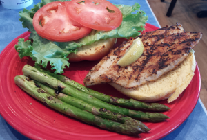 Tilapia Sandwich with Grilled Asparagus