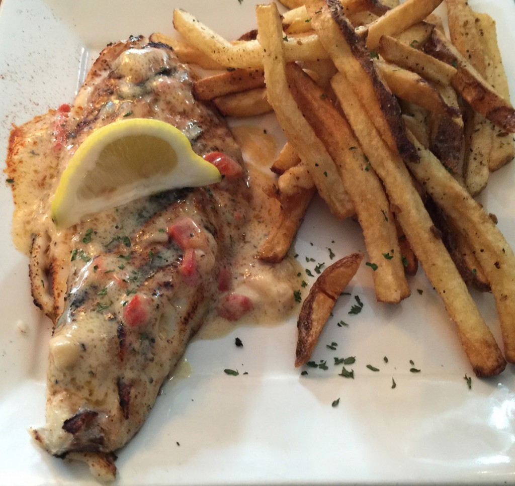Snapper with Red Pepper Cream Sauce, Marker 7 Coastal Grill, Athens GA