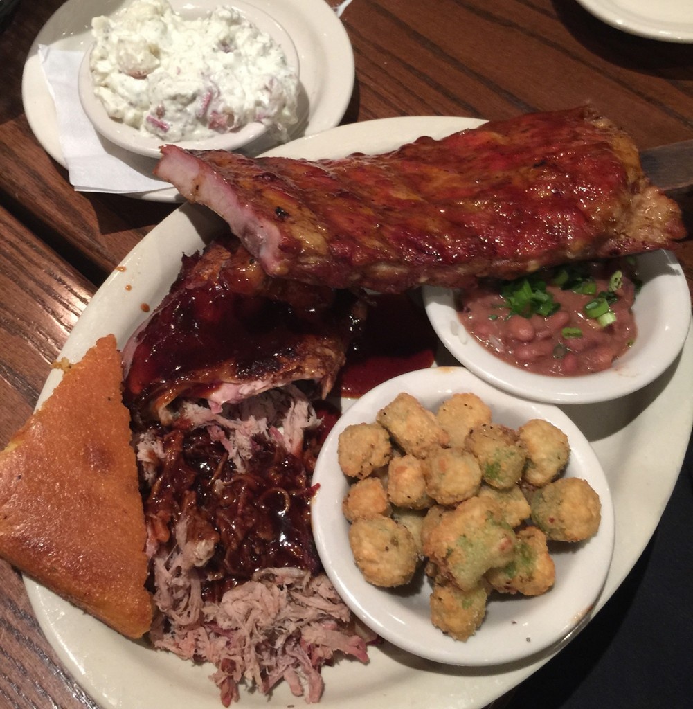 Pitmaster Sampler, Half a slab of Classic Ribs, Pulled Pork, 1/4 Chicken, Potato Salad, Red Beans & Rice, Fried Okra and Cornbread, Memphis BBQ Company, Dunwoody
