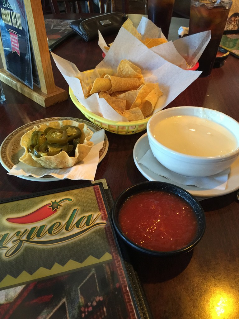 Chips, salsa, queso and Jalapeños, La Cazuela, Lawrenceville, Gwinnett