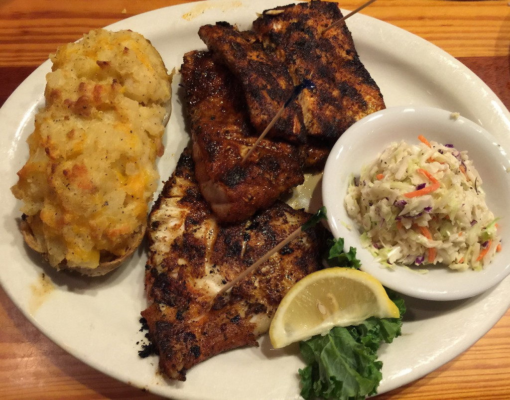 Blackened Fisherman's Platter (grouper, tuna, amberjack (bottom to top)) with Twice-Backed Potato and Cole Slaw, The Back Porch Seafood & Oyster House, Panama City Beach, Florida