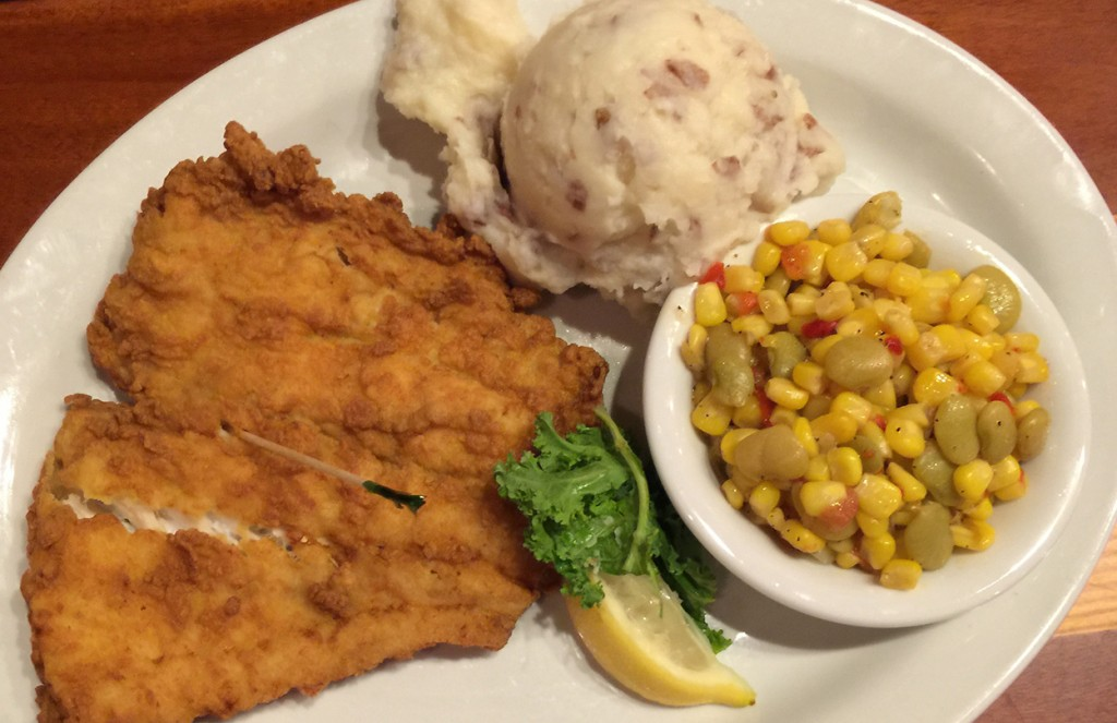 Fried Grouper with mashed potatoes and corn, The Back Porch Seafood & Oyster House, Panama City Beach, Florida