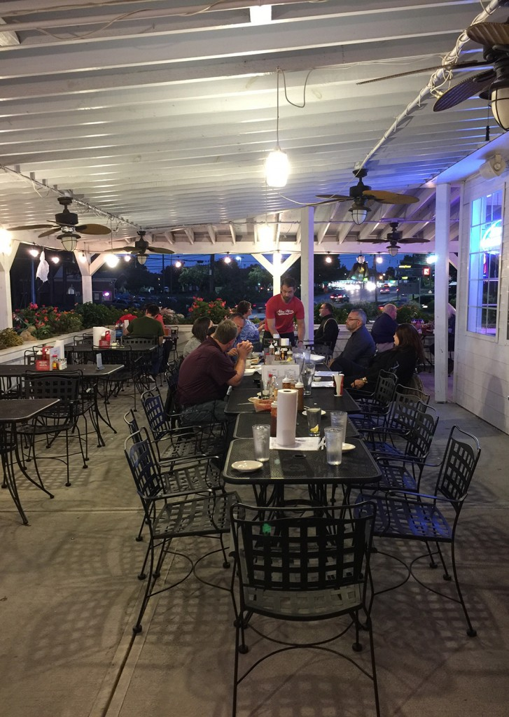 Outdoor seating, Greater Good Barbecue, Tucker, DeKalb