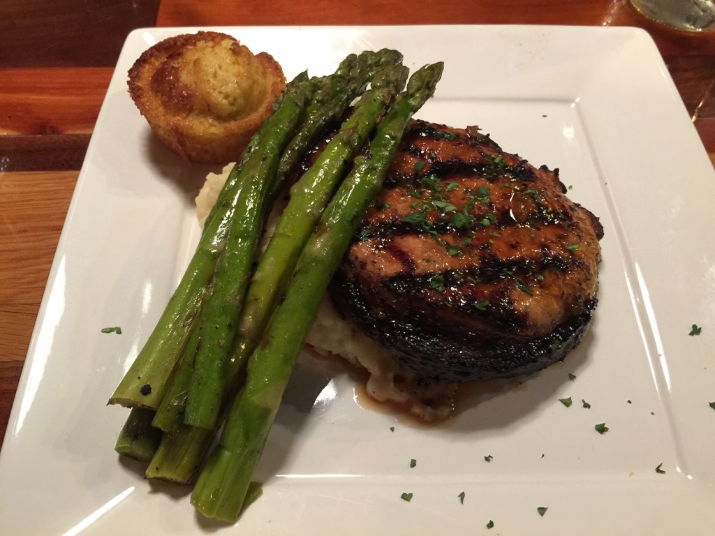 Grilled Pork Chop served with Mashed Potatoes and Asparagus and Cornbread, The Place, Athens