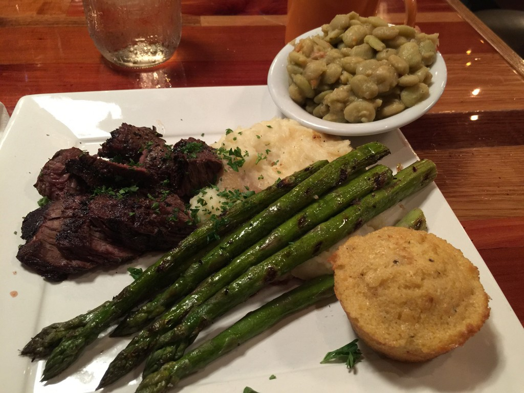 Hanger Steak served with Mashed Potatoes, Asparagus, Lima Beans and Cornbread