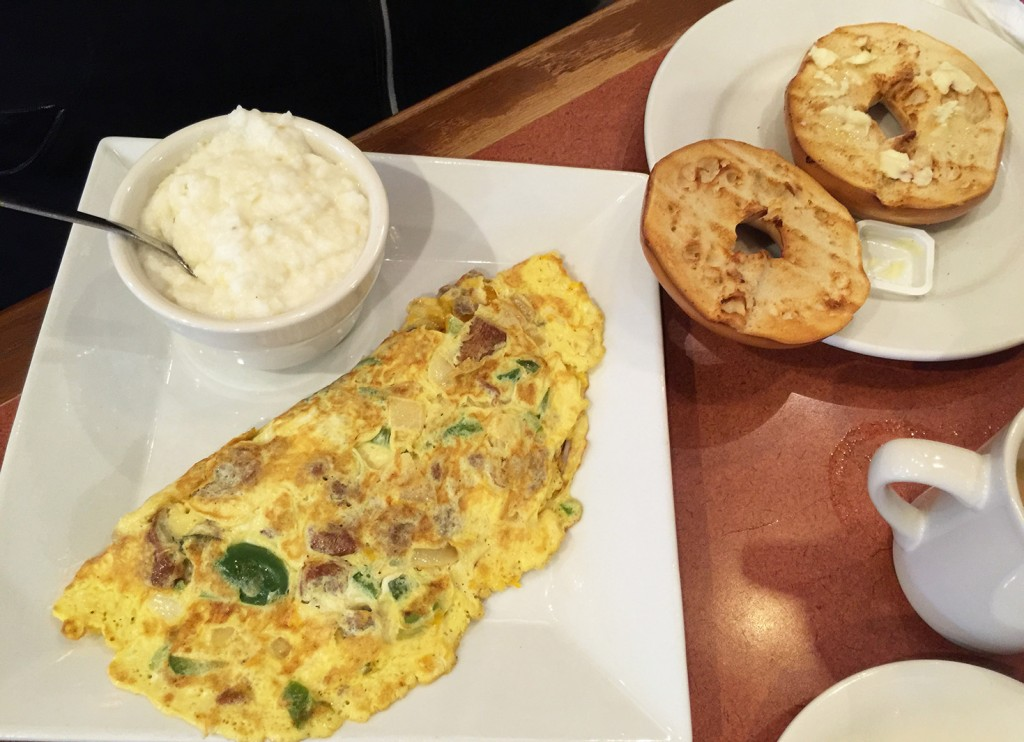 Omelet served with grits and a bagel, Duluth Diner, Duluth, Gwinnett