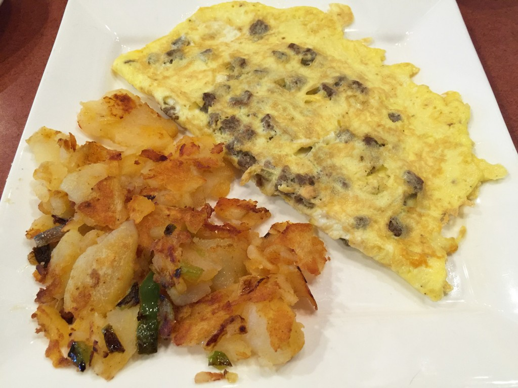 Sausage Omelet Served with Home Fries, Duluth Diner, Duluth, Gwinnett
