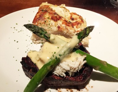Filet Oscar served with Au Gratin Potatoes, Stoney River Steakhouse and Grill, Duluth, Johns Creek, Gwinnett, North Fulton