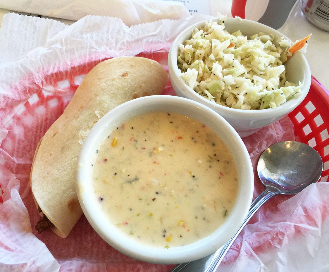 Fish Taco, Jalapeño Coleslaw, Shrimp Corn Chowder, Taqueria del Sol, Cheshire Bridge, Atlanta, Fulton