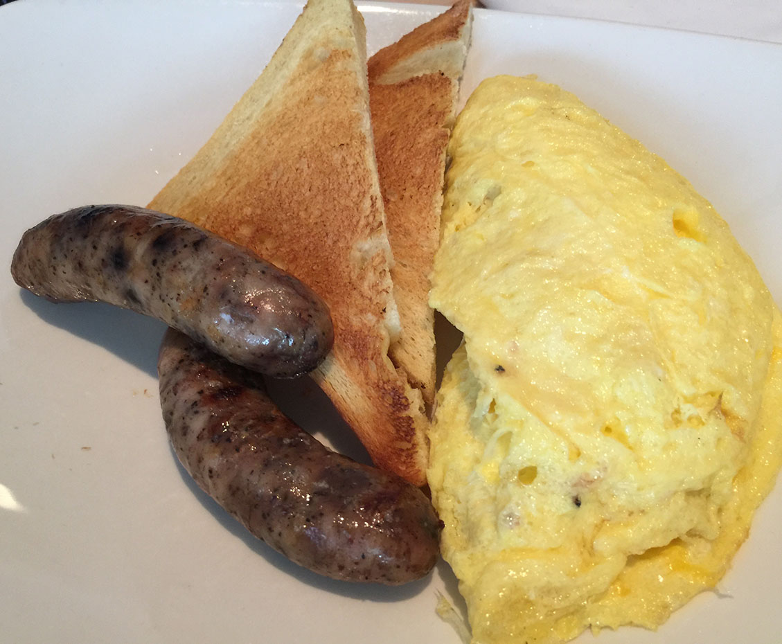 Ham & Cheese Omelet served with Blueberry Chicken Sausage, Seed Kitchen & Bar, Merchant's Walk, Marietta, East Cobb