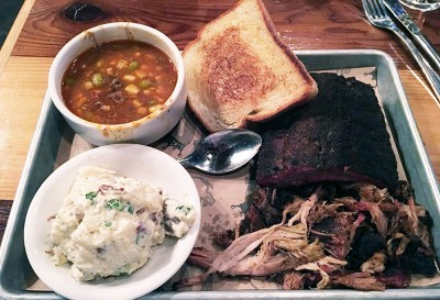 Combo Plate with 1/4 Rack of Baby Back Ribs, Pulled Pork, Potato Salad and Brunswick Stew, Smokebelly BBQ, Buckhead, Atlanta, Fulton
