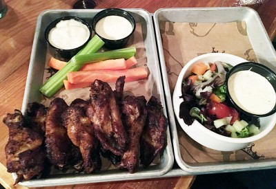 Smoked Chicken Wings served with a Side Salad, Smokebelly BBQ, Buckhead, Atlanta, Fulton