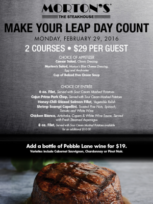 Morton's Leap Day $29 Offer
