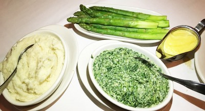 Horseradish Mashed Potatoes, Steamed Asparagus, Creamed Spinach, Morton's The Steakhouse, Downtown, Atlanta