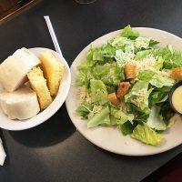Bread service with Caesar salad